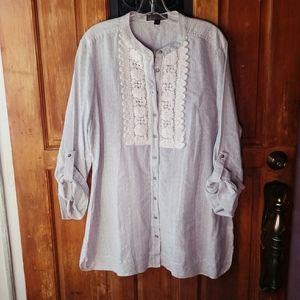Nine West Tunic Size XL White Stripes Crochet